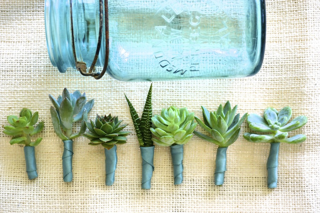 blue mason jar green blue succulent boutonnieres wedding flowers utah calie rose
