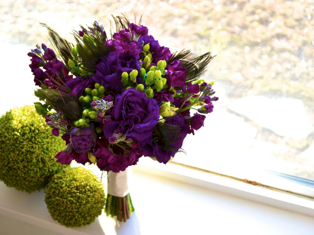 purple green teal peacock bridal bouquet utah wedding florist calie rose