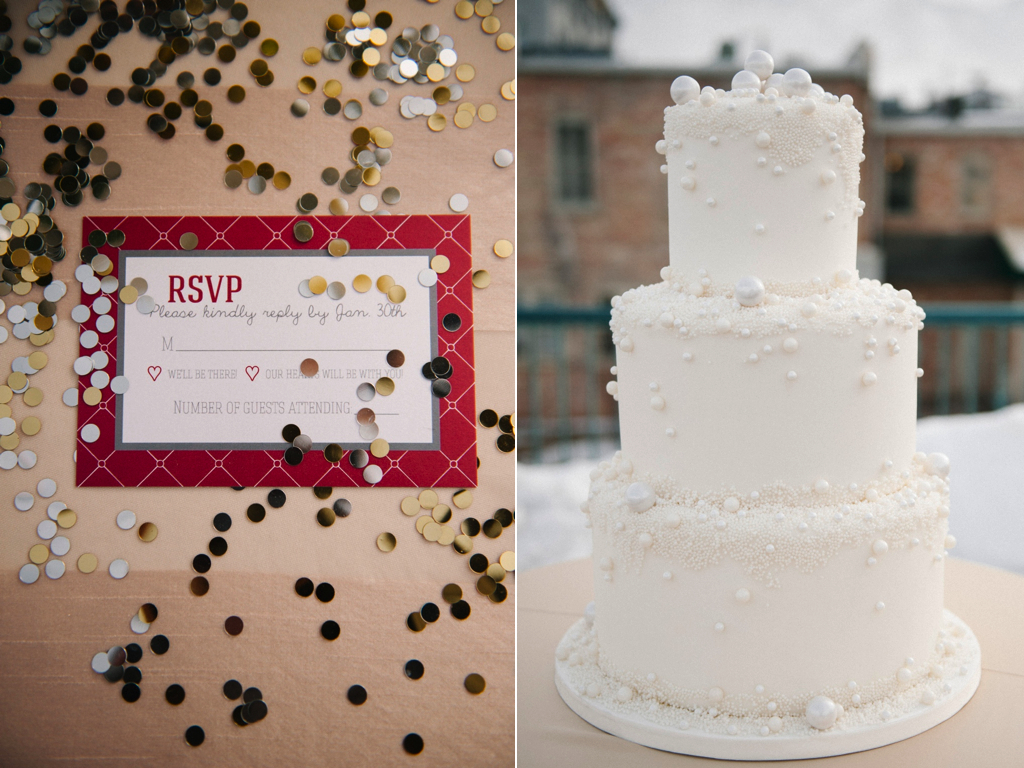 gold silver grey berry red wedding invitation modern white wedding cake