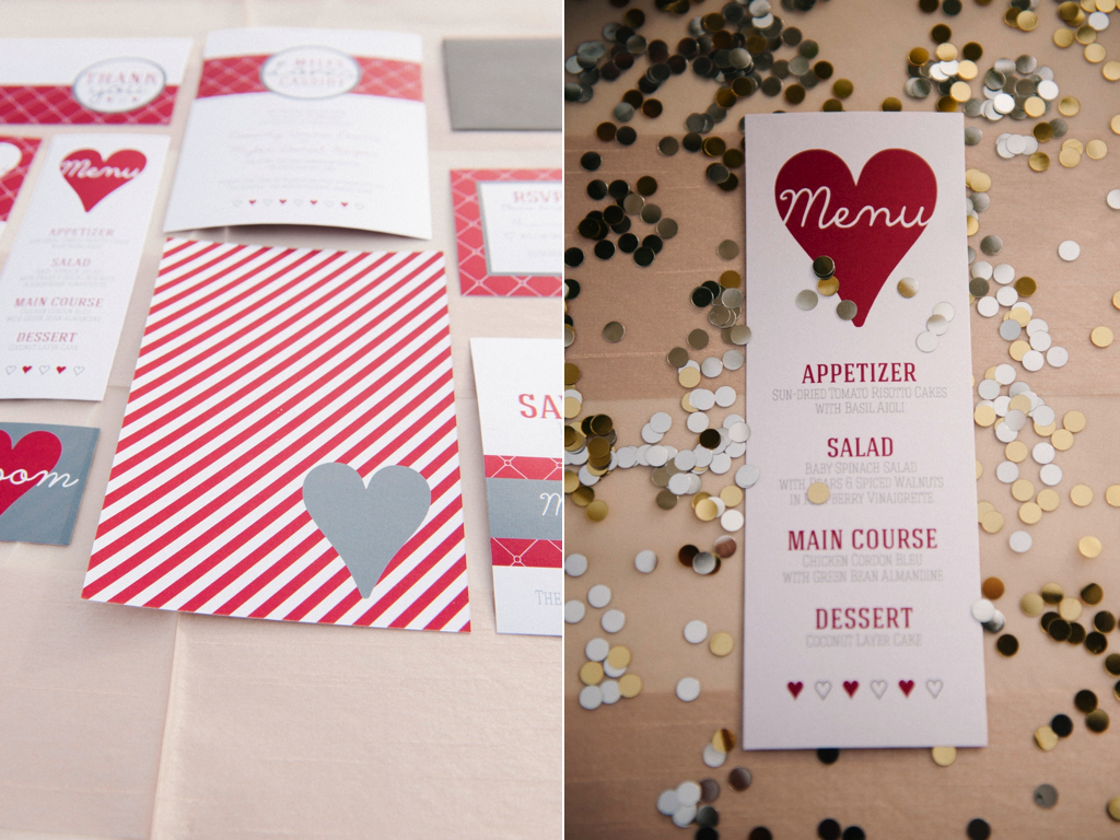 silver gold berry red grey wedding invitation suite by polka dots and daisies