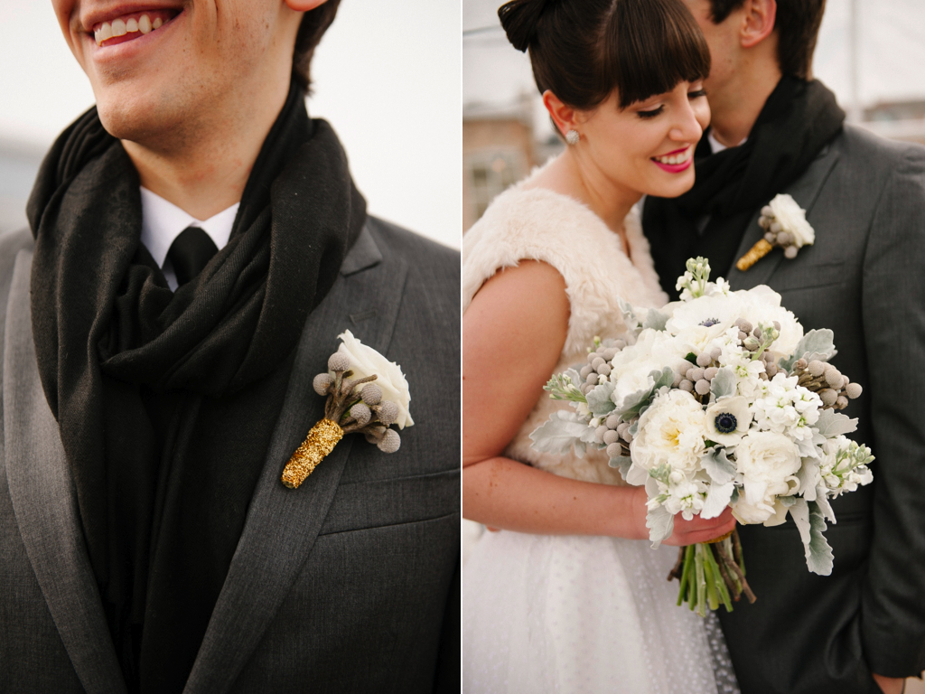 white lisianthus grey brunia wedding boutonniere modern white grey gold wedding boutonniere utah wedding florist calie rose