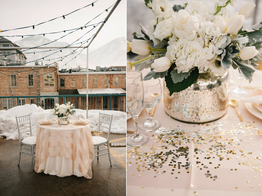 Modern rooftop wedding styled shoot featured on ruffled for Idee deco vase