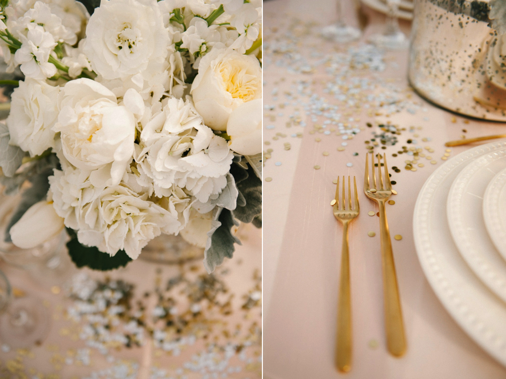 white peony tulip hydrangea garden rose grey dusty miller brunia silver mercury glass wedding centerpiece gold flatware wedding utensils utah wedding florist calie rose