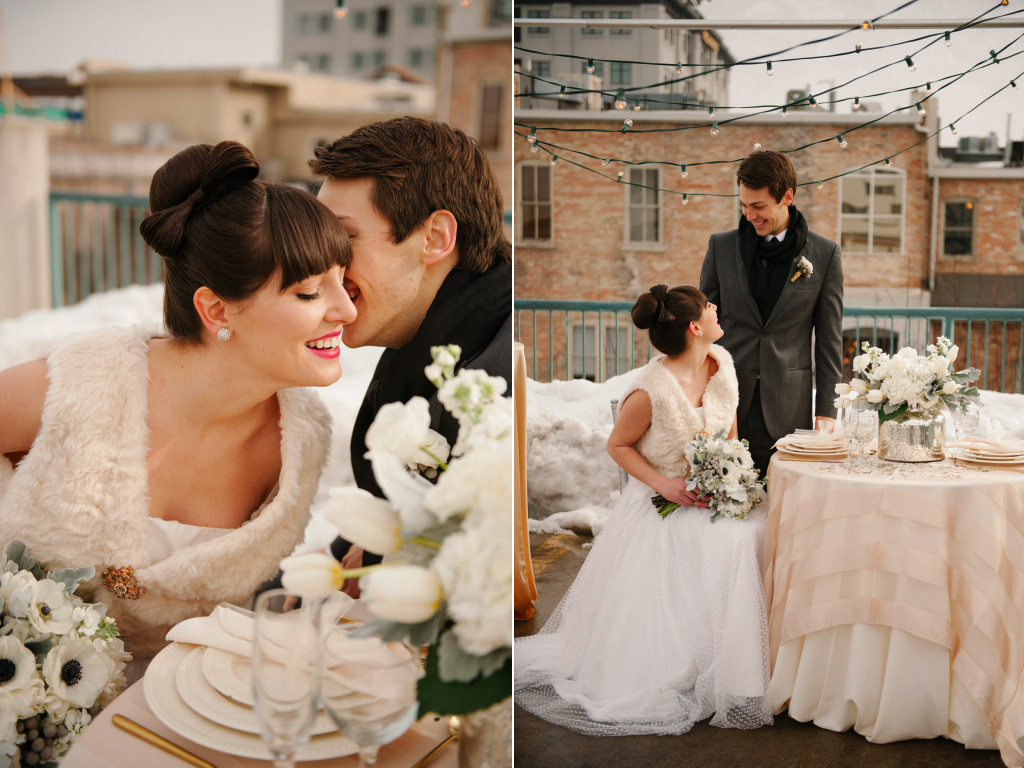 modern rooftop wedding silver gold grey white modern rooftop winter wedding utah wedding flowers calie rose