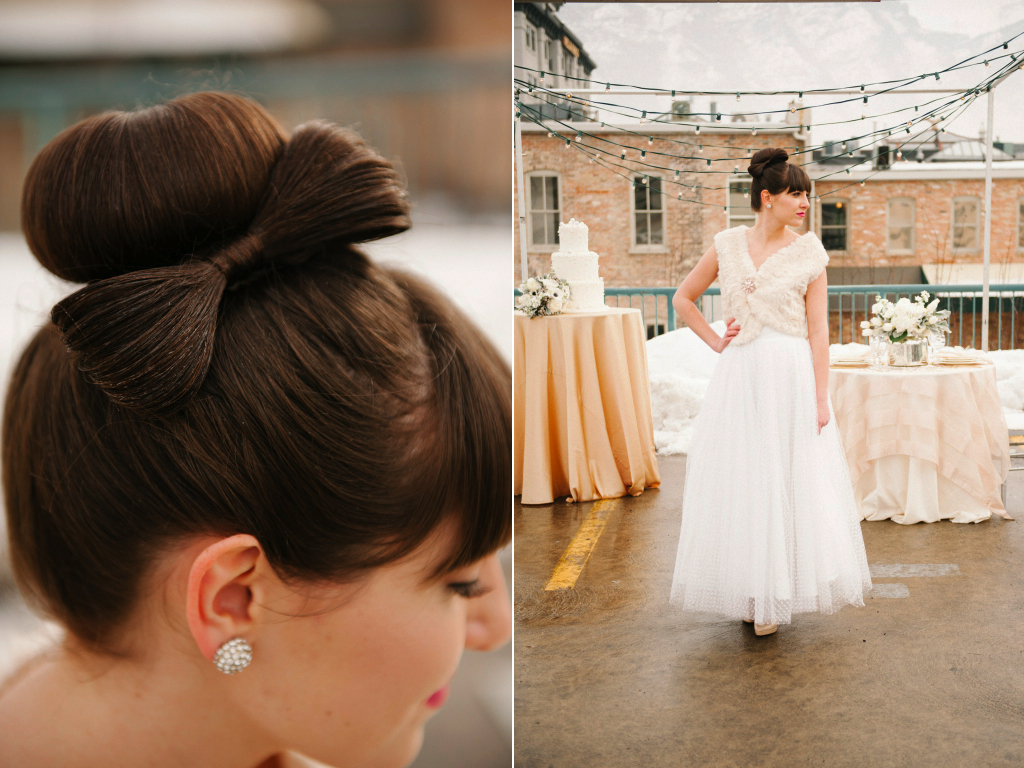 wedding hair bow modern rooftop wedding