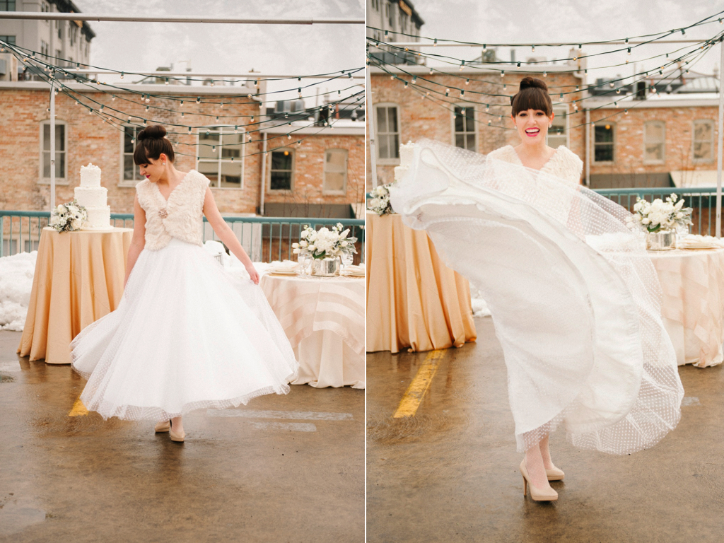 modern winter rooftop wedding