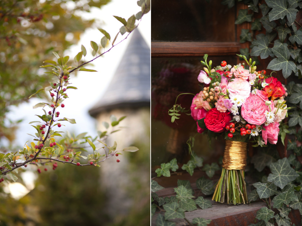 red pink gold organic messy anthropologie inspired wedding flowers utah calie rose