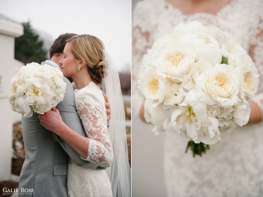 elegant lush white cream garden rose peony hydrangea ranunculus wedding flowers bouquet utah calie rose - Garden Rose And Hydrangea Bouquet