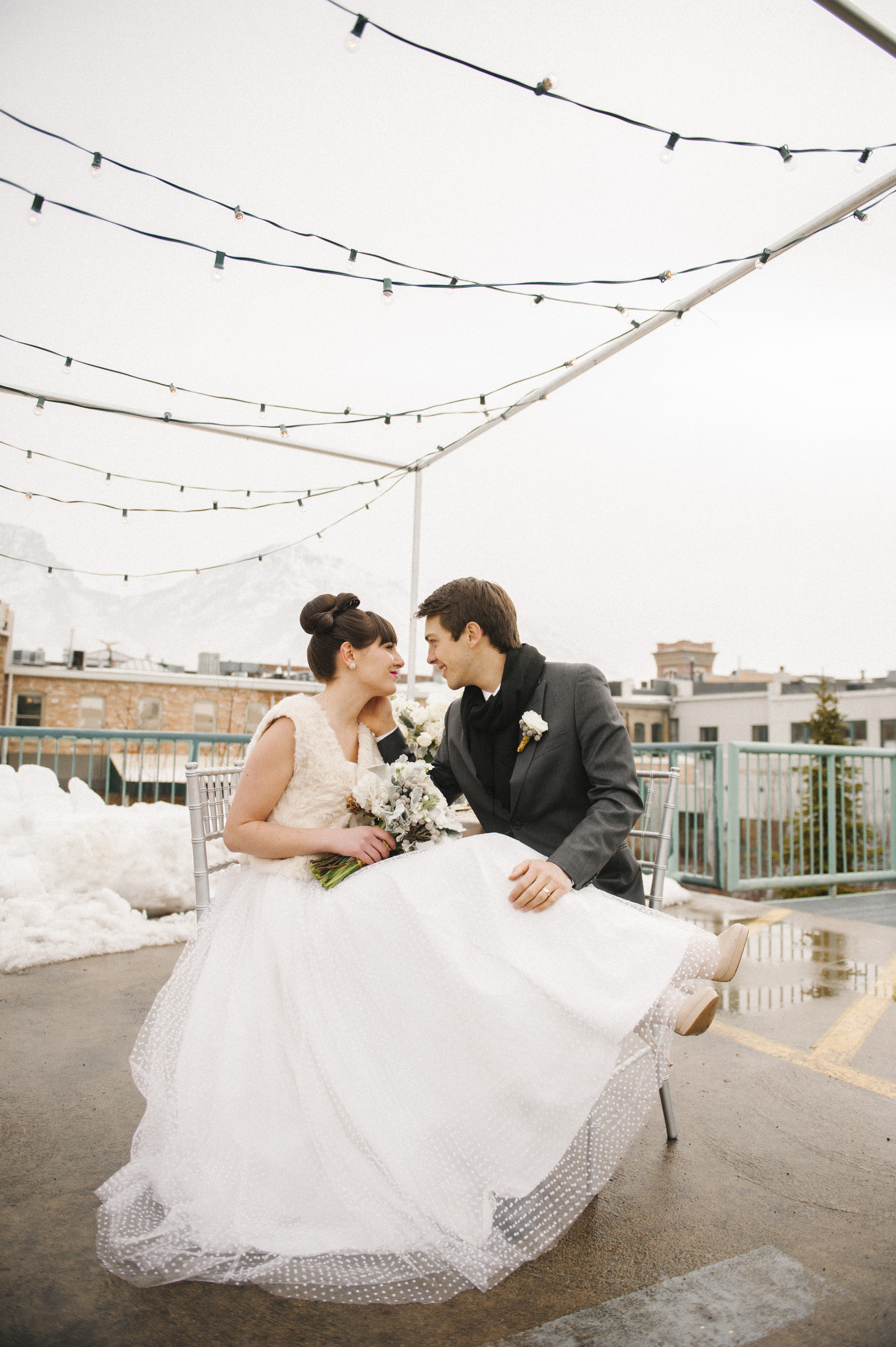 modern rooftop wedding utah calie rose