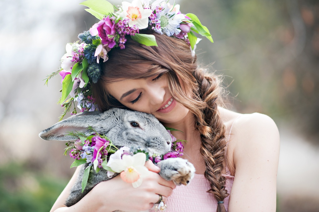 whimsical easter bunny inspiration romantic floral head crown animal flower wreath wedding flowers utah calie rose