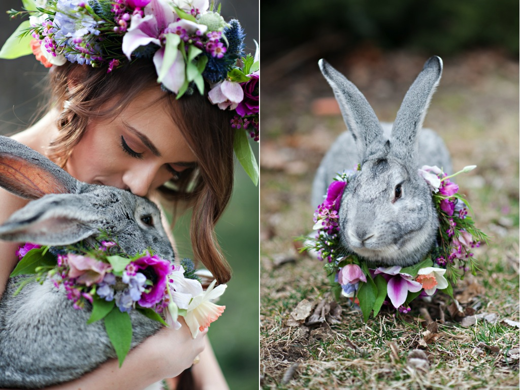 Spring Easter inspiration shoot beautiful romantic floral crown animal flower neck wreath utah wedding florist calie rose