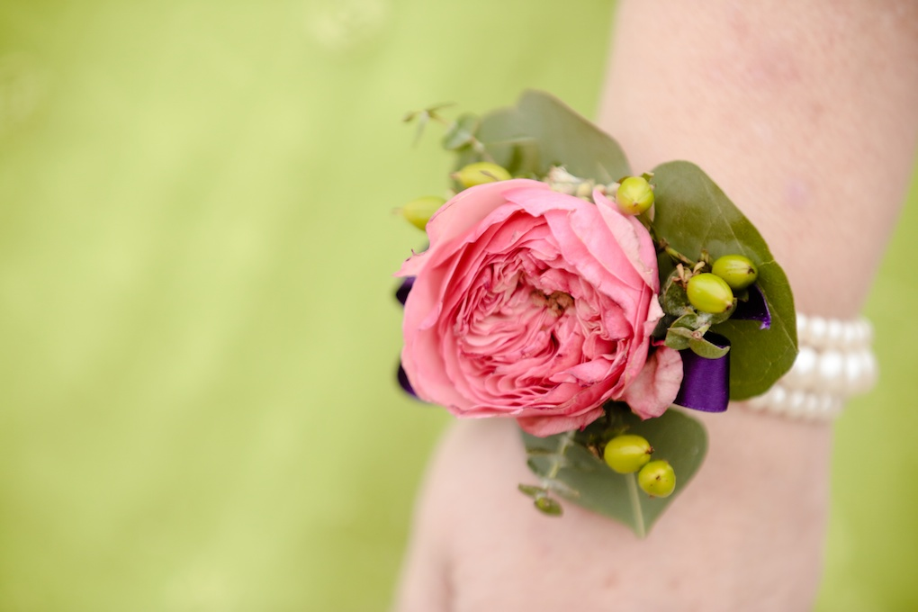 pink english garden rose flower bracelet wrist corsage wedding flowers utah calie rose