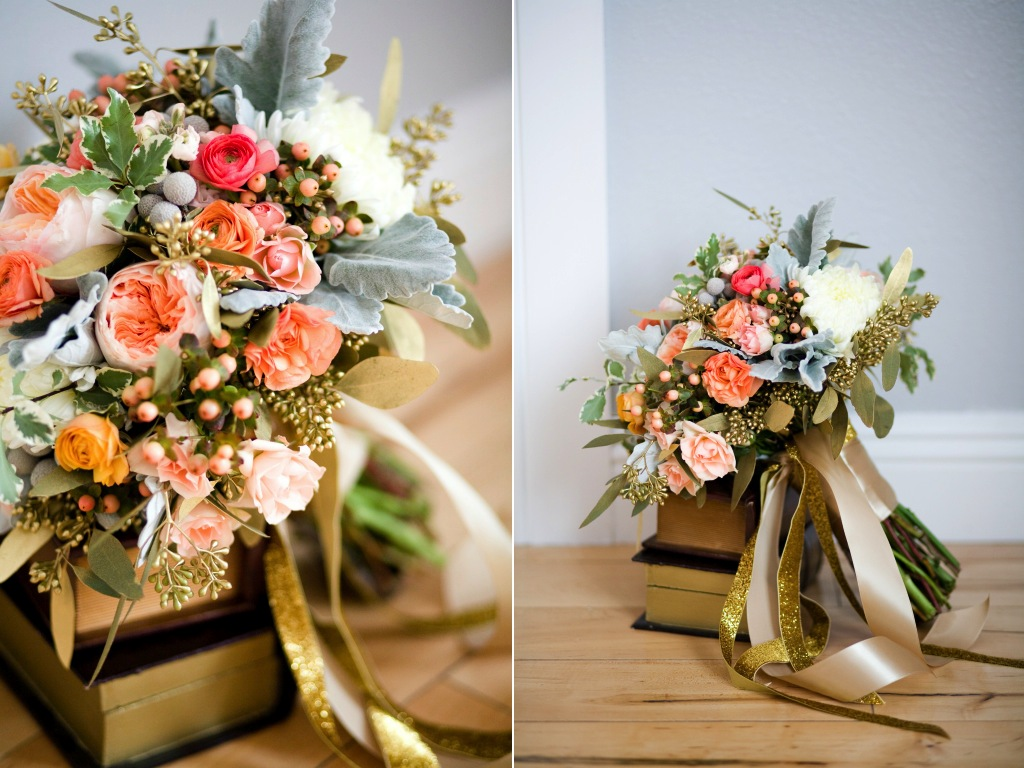 coral peach gold wedding flowers utah calie rose