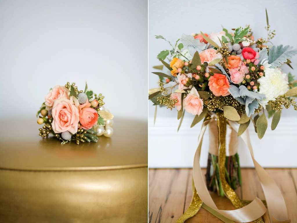 gold peach coral wedding flowers utah calie rose