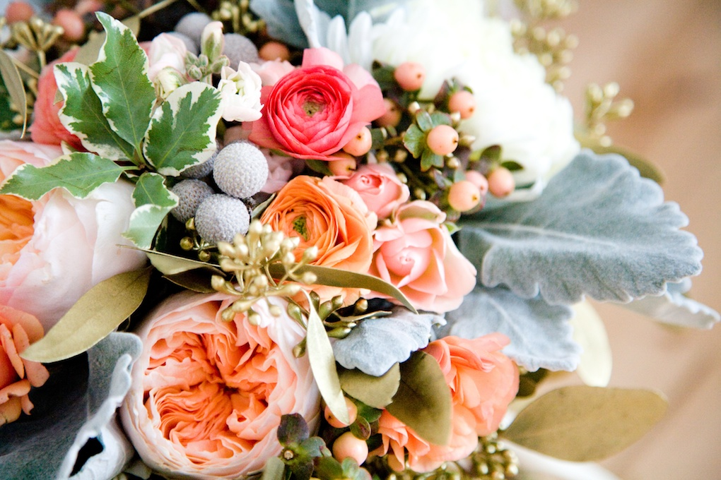 peach coral grey gold wedding utah wedding florist calie rose