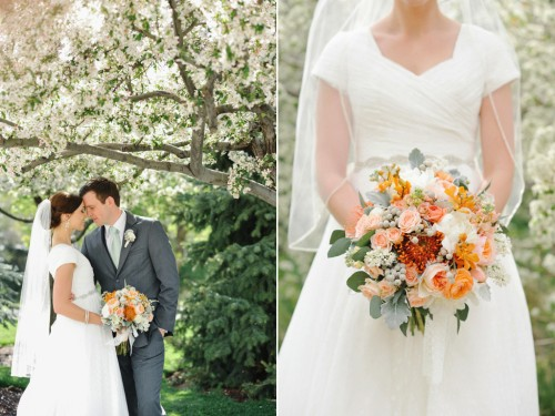 peach white mint green wedding flowers at the provo library utah calie rose. Black Bedroom Furniture Sets. Home Design Ideas