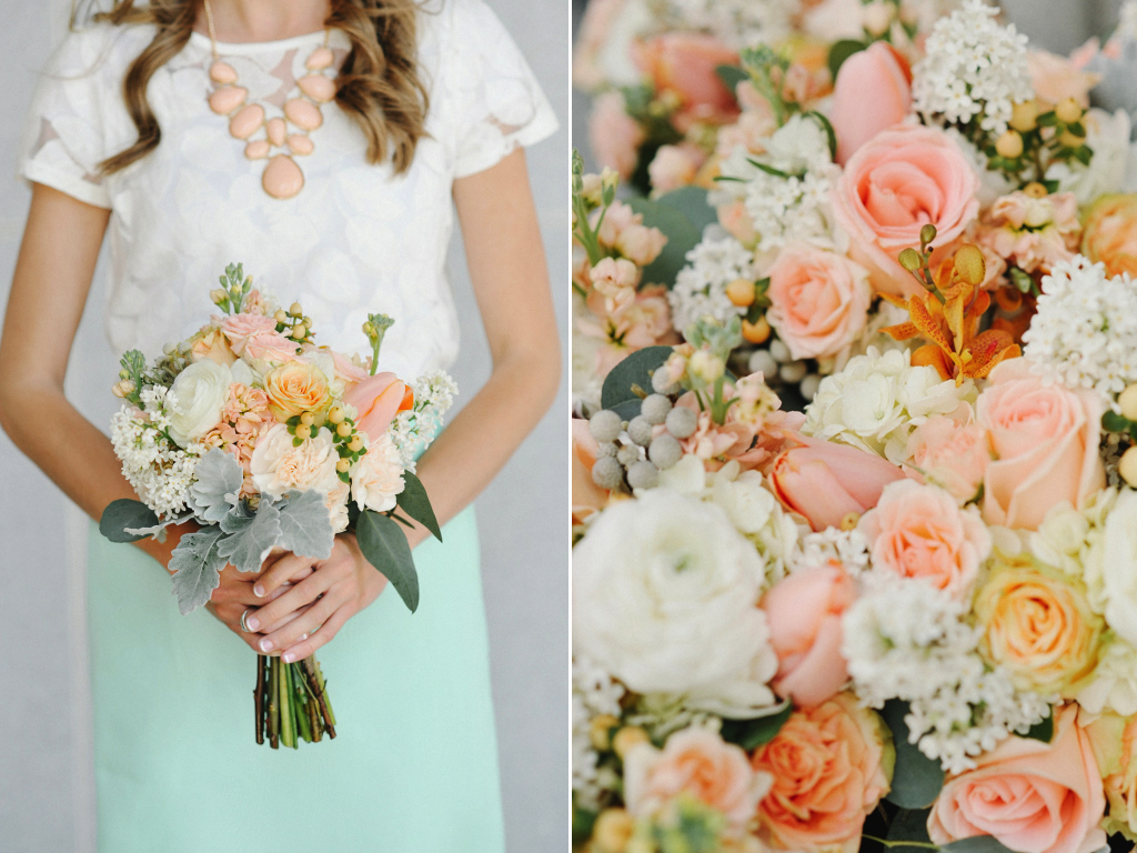Peach White Mint Green Wedding Flowers At The Provo Library Utah CALIE ROSE