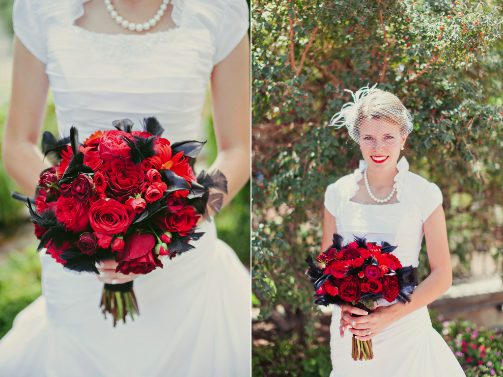 red garden rose rose black calla lily feather wedding flowers bouquet utah wedding florist calie rose stephanie sunderland photography