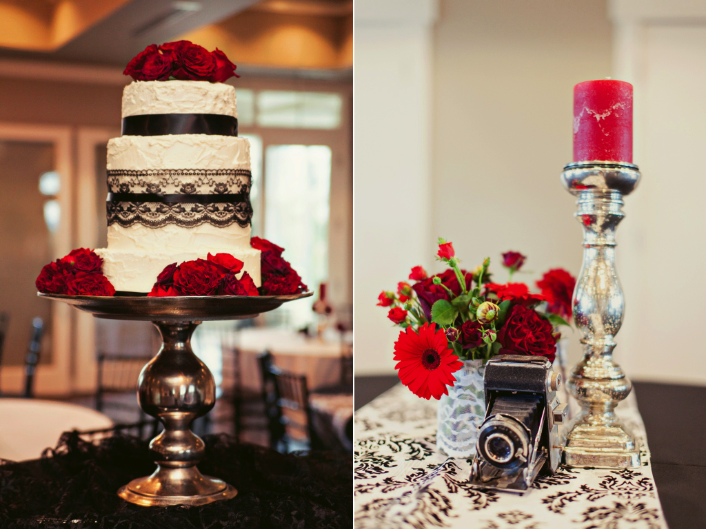 red rose cake flowers red black vintage inspired wedding centerpieces utah wedding florist calie rose stephanie sunderland photography sleepy ridge weddings