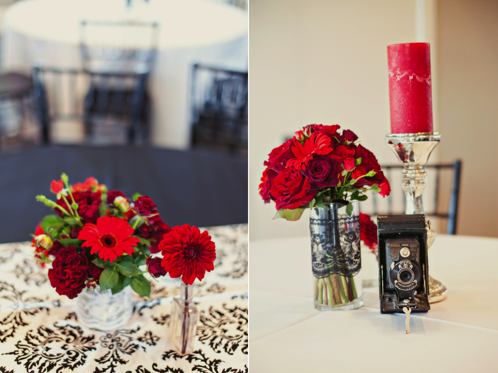 red black wedding flower centerpieces vintage camera inspired sleepy ridge utah wedding calie rose