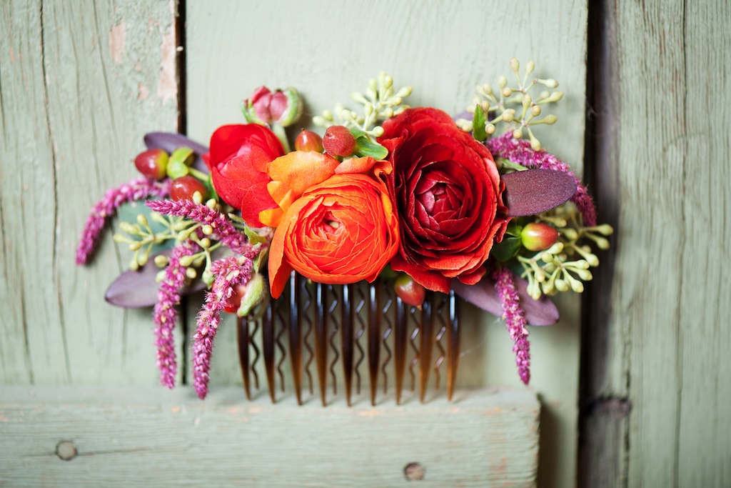 utah florist calie rose fall inspired hair flowers fall inspired flower hair comb kristina curtis photography