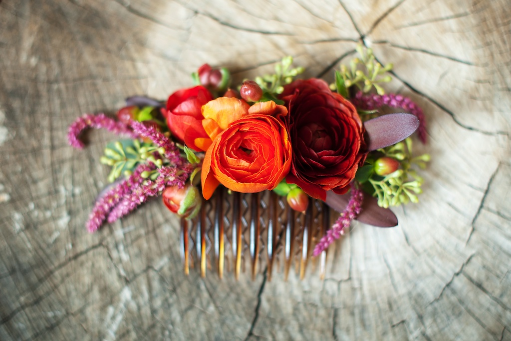 flower hair comb bright fall flower hair comb red orange green flower hair comb utah wedding flowers calie rose