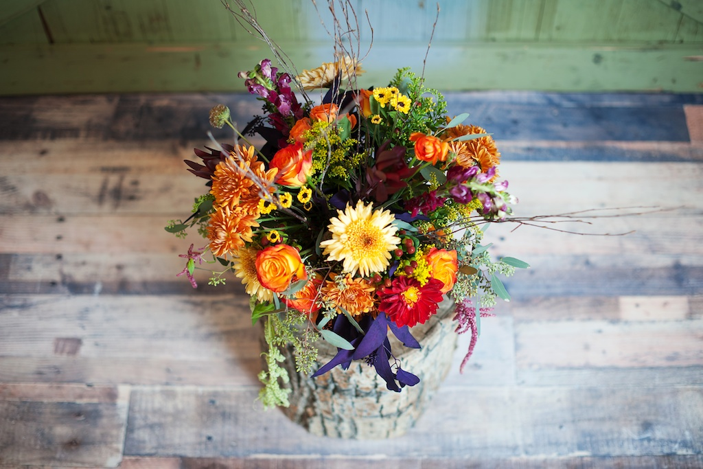 bright fall centerpiece utah florist calie rose kristina curtis photography