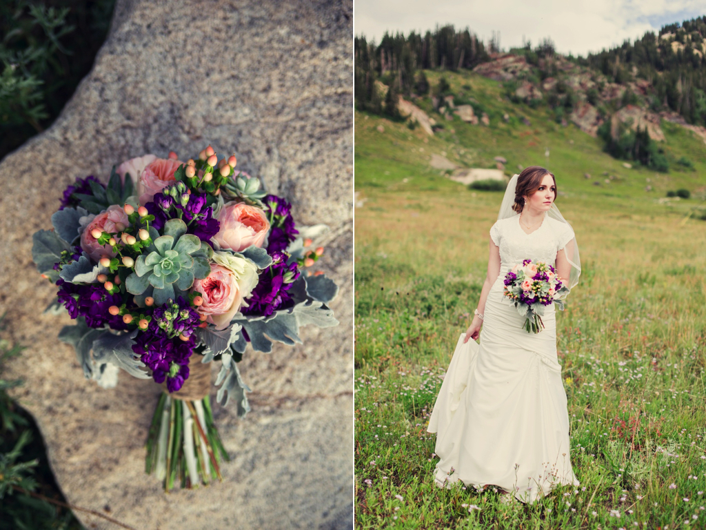 utah mountain inspired peach mint ivory plum wedding flower bouquet calie rose stephanie sunderland photography