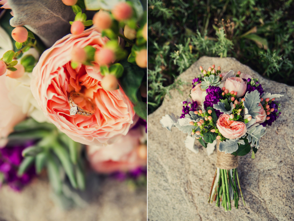 rustic peach garden rose coral hypericum berry  mint succulent  grey dusty miller  plum stock twine wrapped wedding flower bouquet utah calie rose