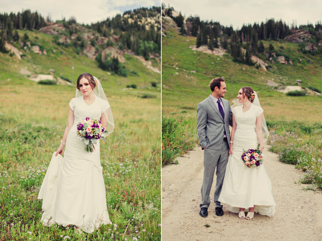 utah mountain inspired wedding peach mint wedding flower bouquet calie rose stephanie sunderland photography