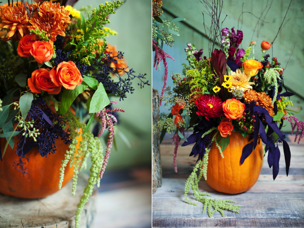 Pumpkin Inspired Fall Wedding Thanksgiving Centerpieces Utah