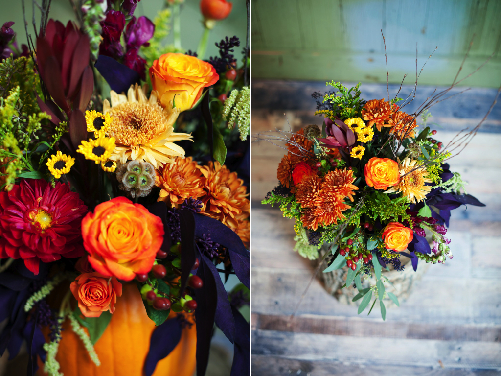 pumpkin inspired centerpiece thanksgiving pumpkin centerpiece bright fall pumpkin centerpiece utah wedding flowers calie rose kristina curtis photography