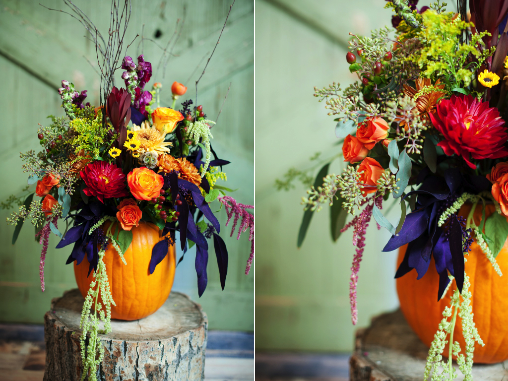 pumpkin fall wedding centerpiece bright fall centerpiece thanksgiving pumpkin centerpiece utah florist calie rose