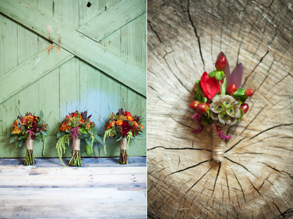 Grooms Twine Boutonnieres Bouquets Rustic Fall Inspired Wedding Flowers Utah Florist Calie Rose