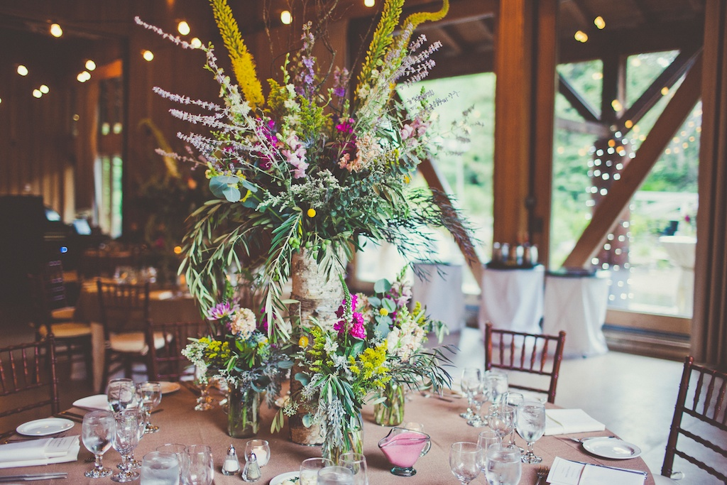 Sundance Resort Wildflower Inspired Wedding tall birch wedding centerpiece utah florist calie rose sarah kathleen photography