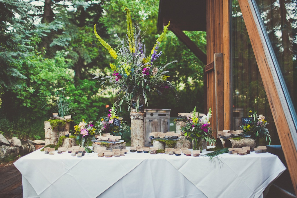 Tall Birch Centerpiece Sundance Wedding utah florist calie rose sarah kathleen photography
