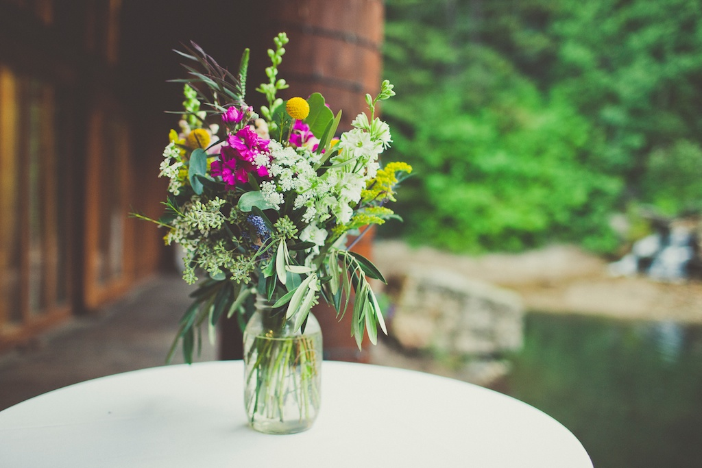 Wildflower inspired mason jar wedding centerpiece Sundance Resort wedding utah florist calie rose sarah kathleen photography