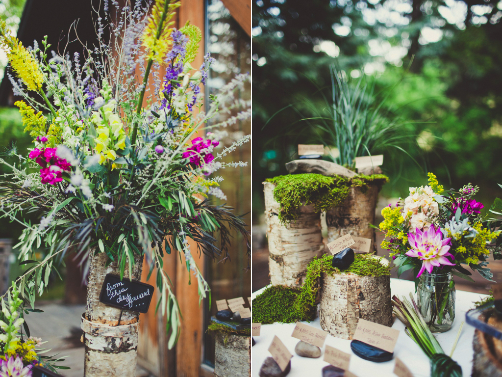 Sundance Resort tall birch centerpiece  moss inspired wedding centerpieces utah florist calie rose sarah kathleen photography