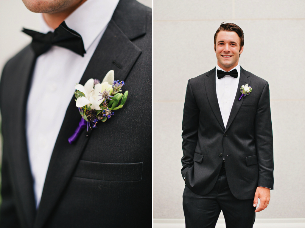 white purple lavender thistle lambs ear freesia boutonniere utah wedding florist calie rose mikki platt photography