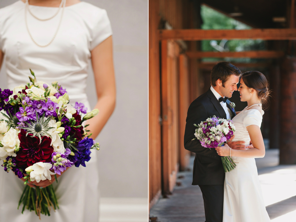 Sundance resort purple stock dahlia thistle lavender lisianthus  wedding flowers utah calie rose mikki platt photography