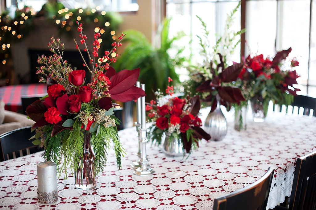 red white green Christmas table arrangements Old fashioned inspired christmas decoration utah florist calie rose