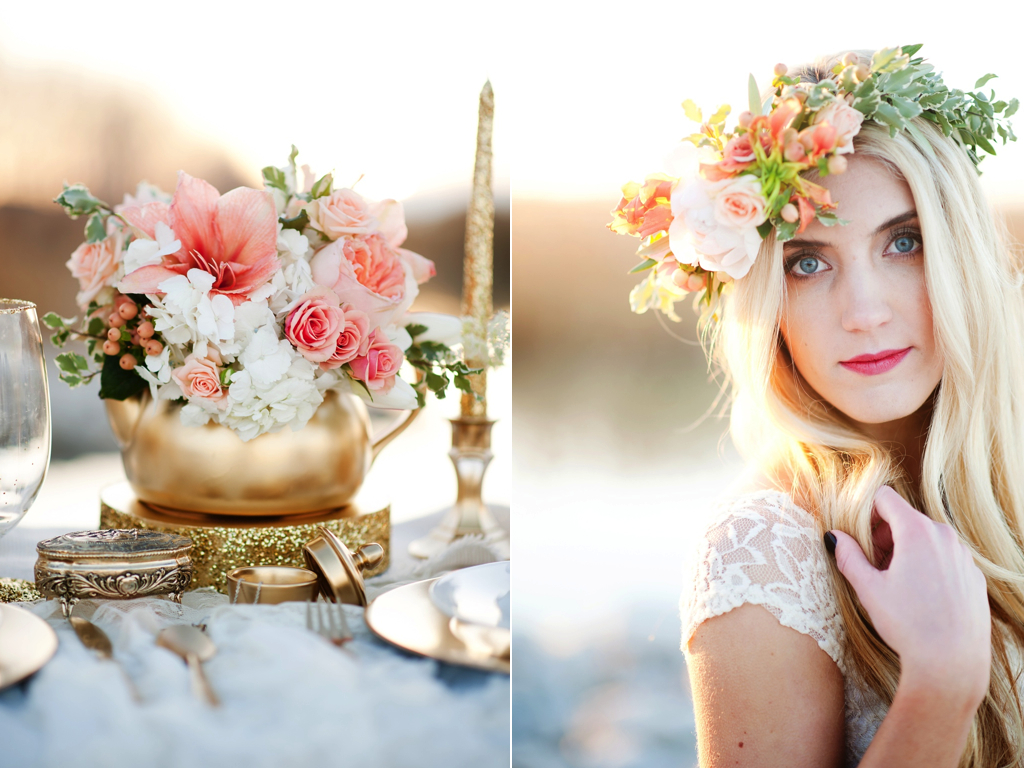 Gold peach mother daughter bridal inspiration featured
