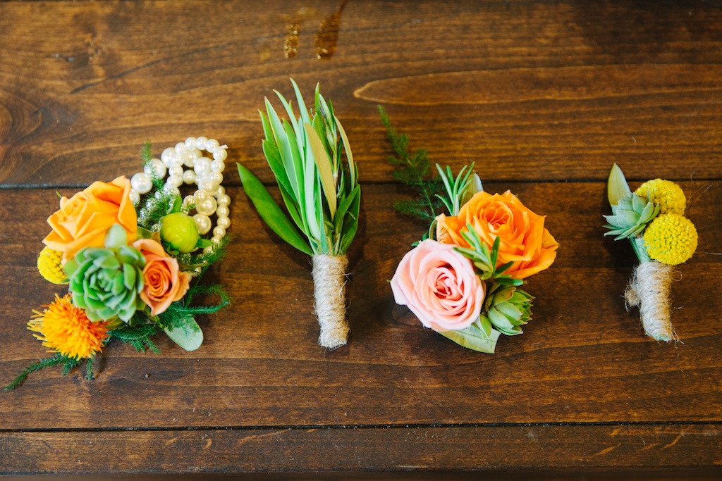 Sundance resort rustic bridal party flowers rustic bridal party flowers twine wrap boutonnieres orange green yellow boutonnieres succulent boutonnieres utah wedding florist calie rose