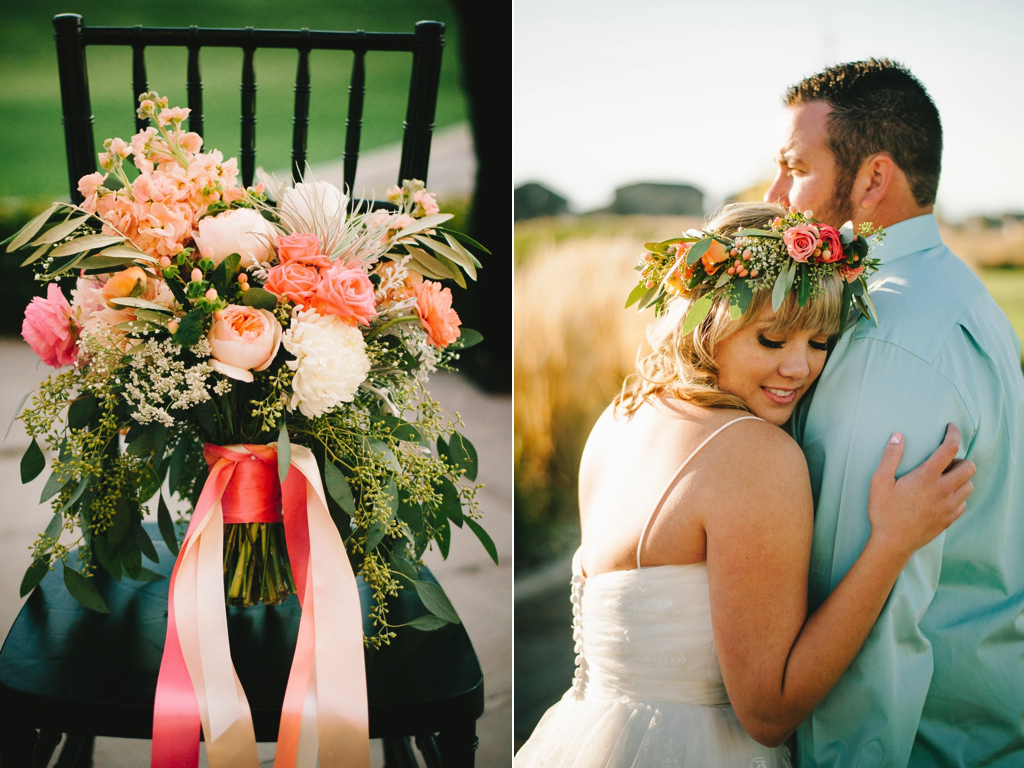 coral peach wedding bouquet flowers utah calie rose sleepy ridge weddings chantel marie photography