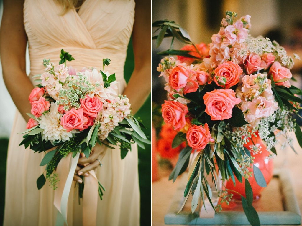 peach coral wedding flowers coral peach bridesmaids flowers utah wedding florist calie rose sleepy ridge reception center chantel marie photography