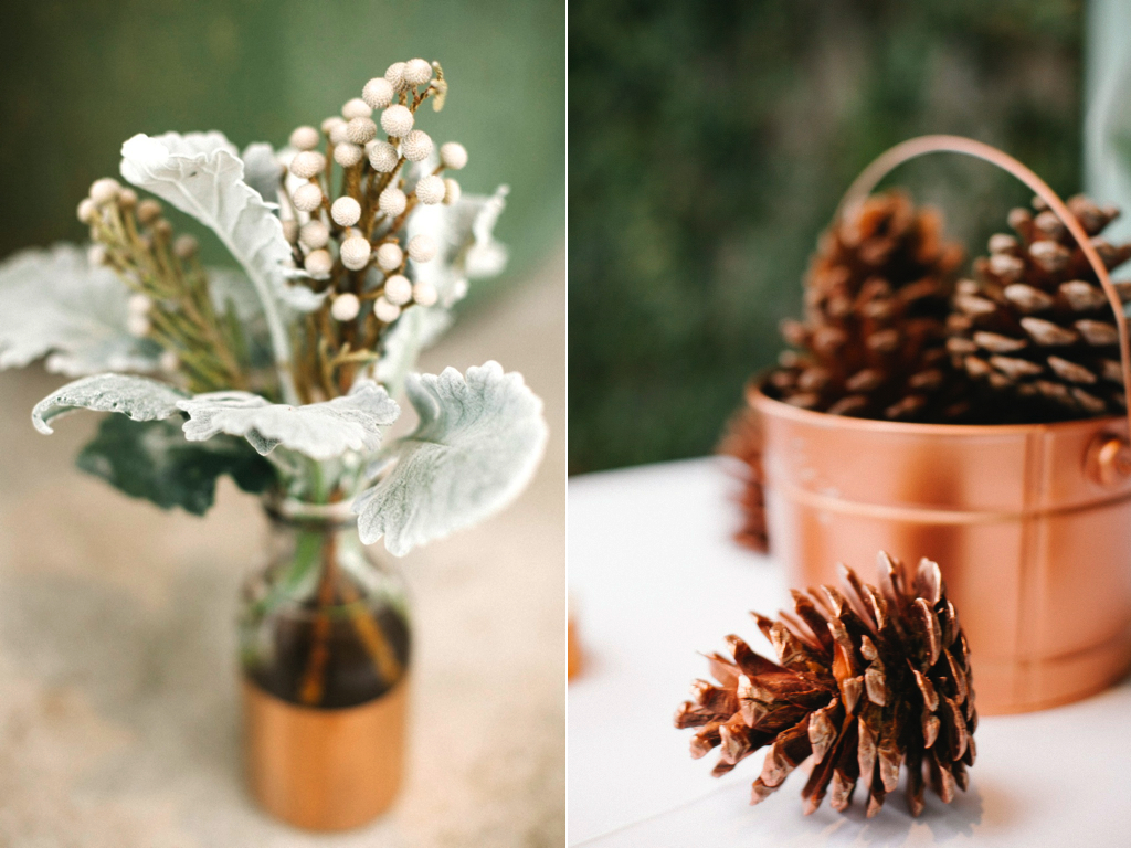 Copper inspired wedding copper vases copper pinecones red butte gardens wedding utah wedding florist calie rose