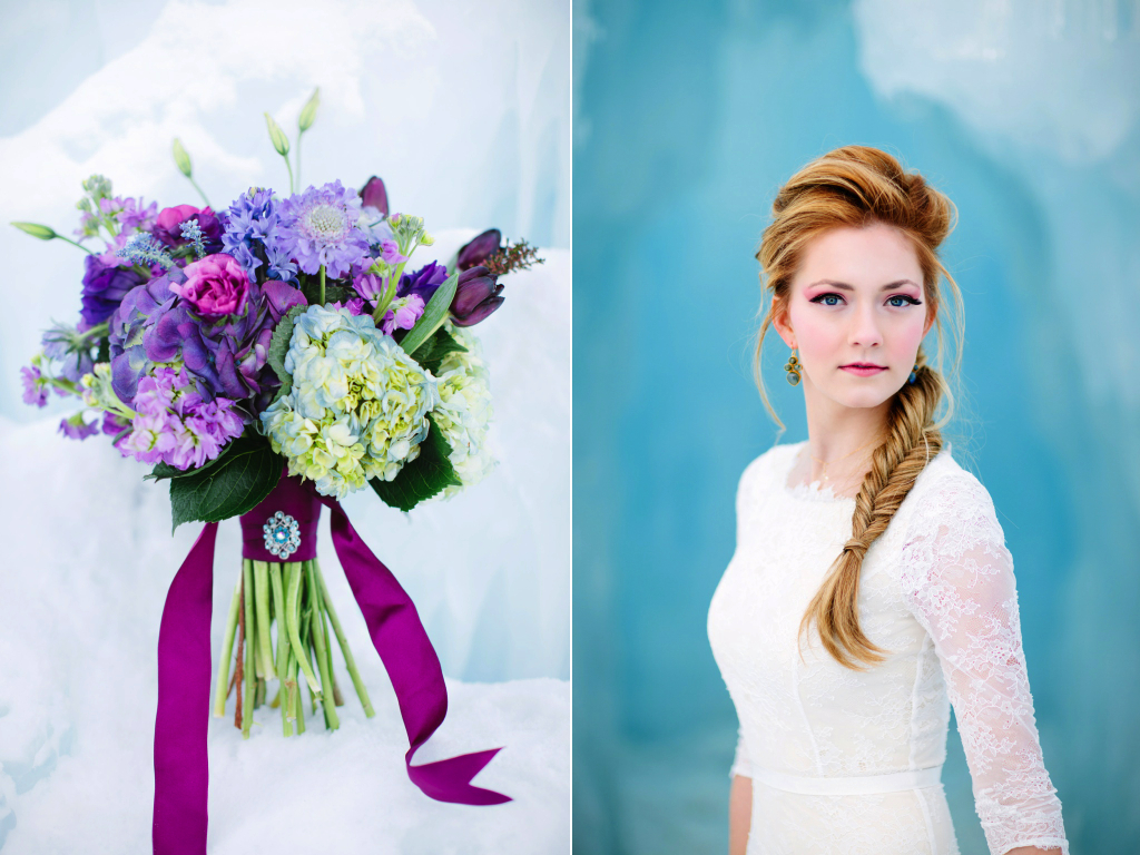 Disney's Frozen Inspired Wedding Shoot midway ice castles calie rose wedding flowers utah Frozen Wedding Ideas winter wedding flowers winter wedding bouquet