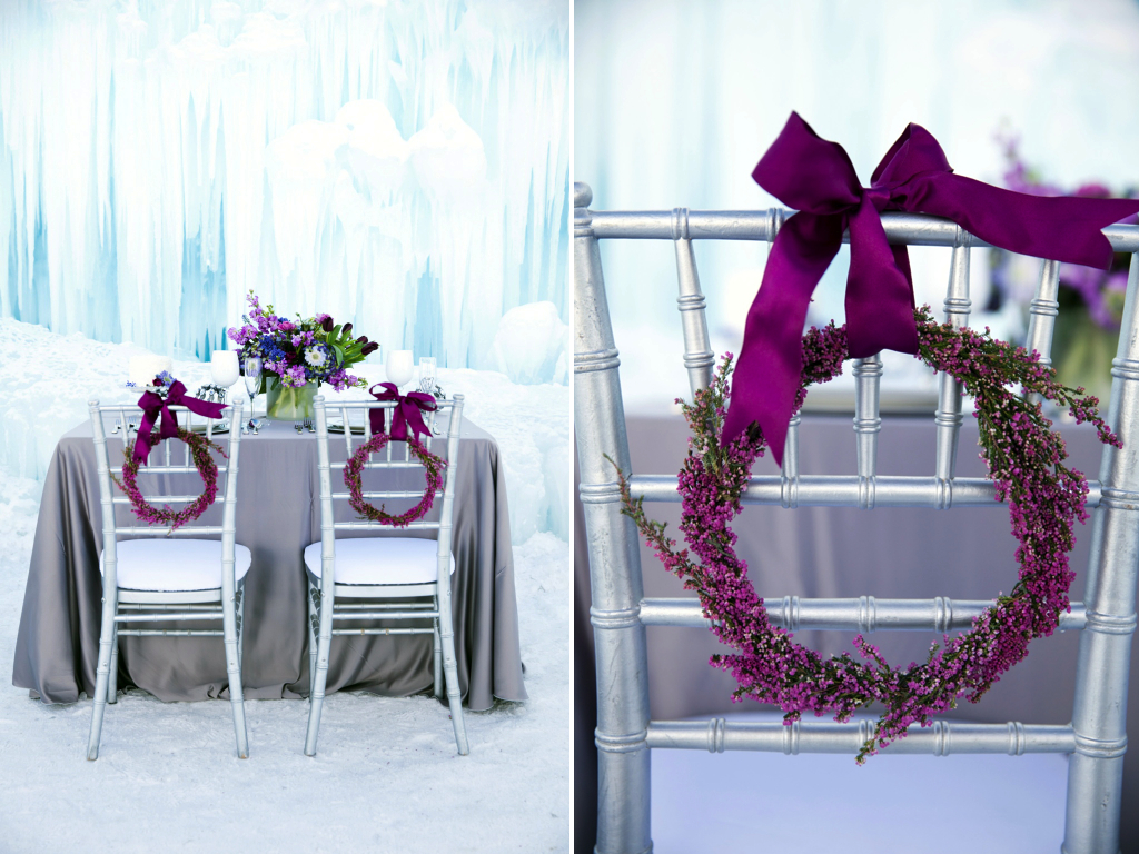 Disney's Frozen Inspired Wedding Shoot midway ice castles calie rose wedding flowers utah florist Frozen Wedding Ideas winter wedding flowers winter wedding wreaths heather wreath simple flower wreath chair wreaths
