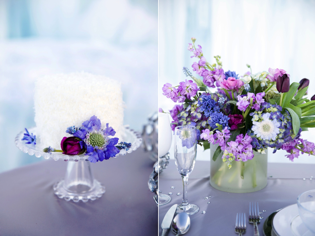 Disney's Frozen Inspired Wedding Shoot midway ice castles calie rose wedding flowers utah florist Frozen Wedding Ideas winter wedding flowers winter wedding cake winter wedding centerpiece purple blue centerpiece