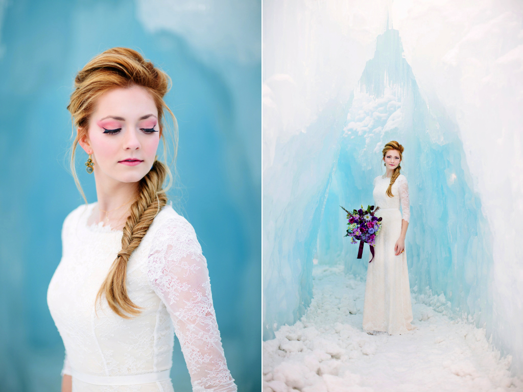 Disney's Frozen Inspired Wedding Shoot midway ice castles calie rose wedding flowers utah florist meredith carlson photography winter wedding flowers winter wedding bouquet